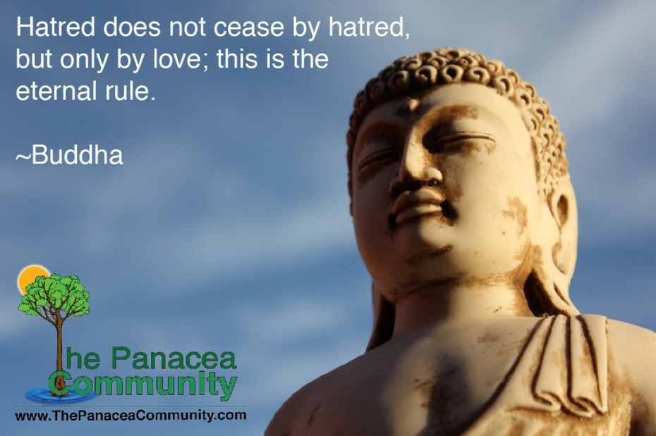 Buddha Quote About Love And Picture Of Stone Buddha