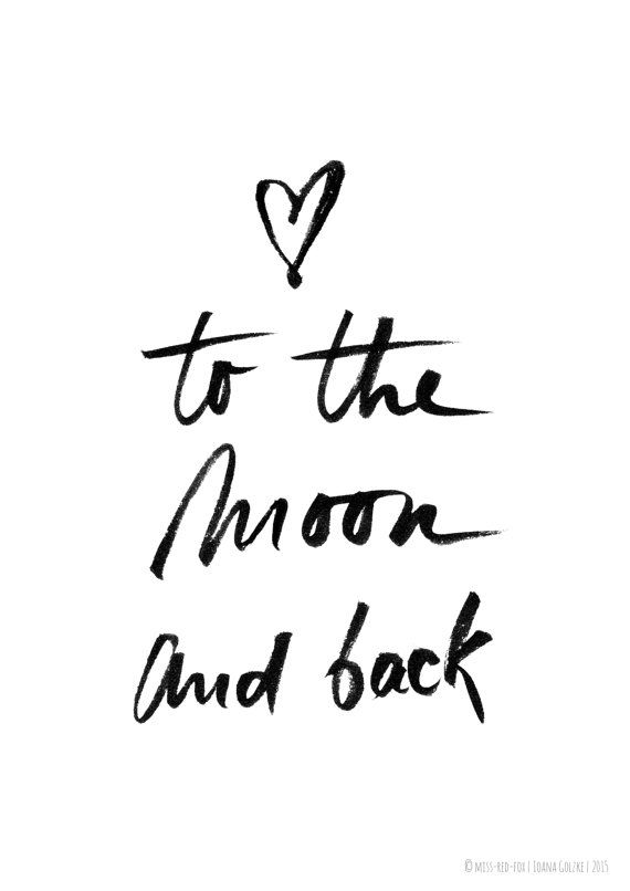 To The Moon And Back Poster Print Black White By Missredfox