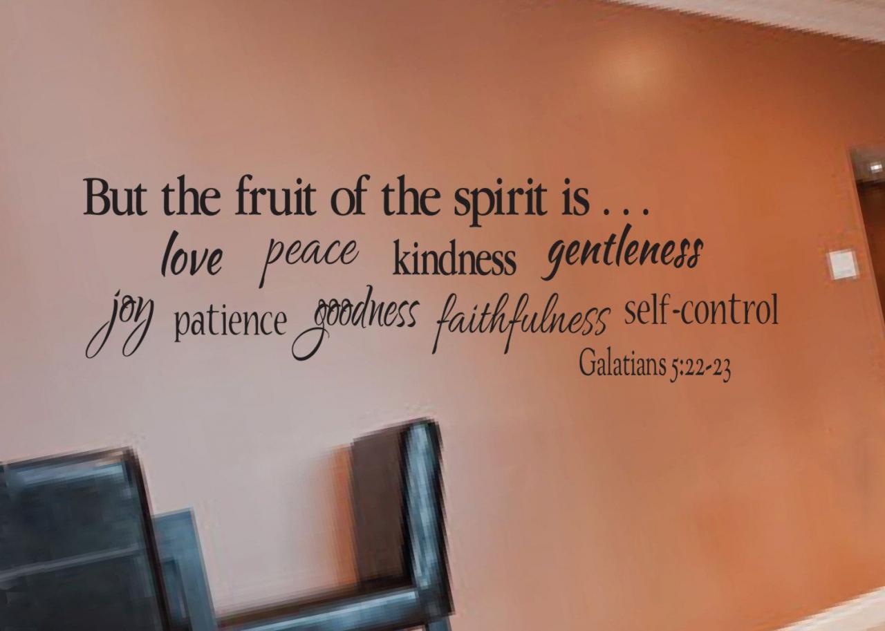 Galatians Fruit Of The Spirit Is Love Joy Peace Patience Kindness Gentleness Faithfulness Self Control Bible Verse Wall Decal