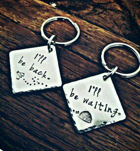 Set Of Two Long Distance Relationship Hand Stamped Keychains Deployment Gift Out Of Town Worker Keychain Set Long Distance Love