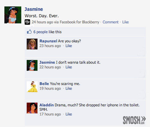 Disney Character Facebook Updates