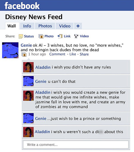 Funny Disney Character Facebook Updates