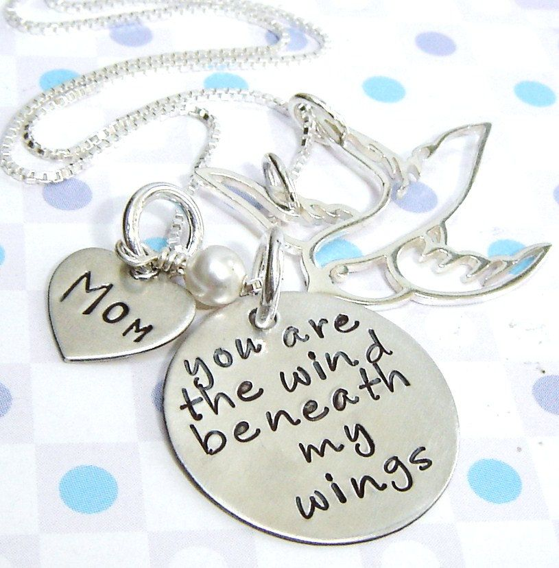 Handstamped Charm Necklace Quote Necklace You Are The Wind Beneath My Wings Mom Dad Spouse Or Lover Hand Stamped Necklace Last One
