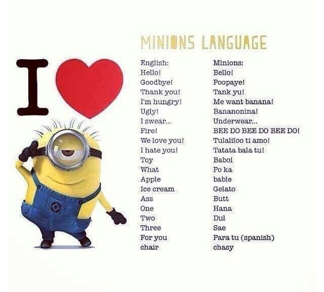 English To Minion Language Translation Minions Pinterest English T