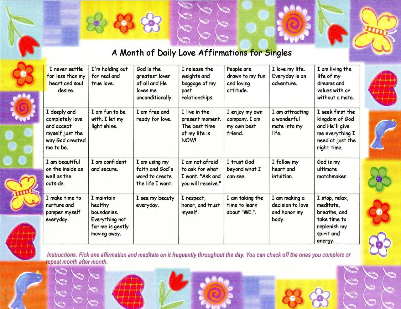 Calendars Of Daily Christian Love Affirmations For Couples And Singles
