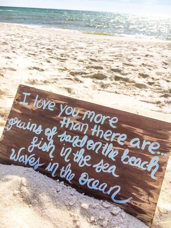 Fathers Day Gift I Love You More Than Romantic Sign Beach Quote Painting Beach Wall Art Beach House Decor Gift For Beach Lover Beach