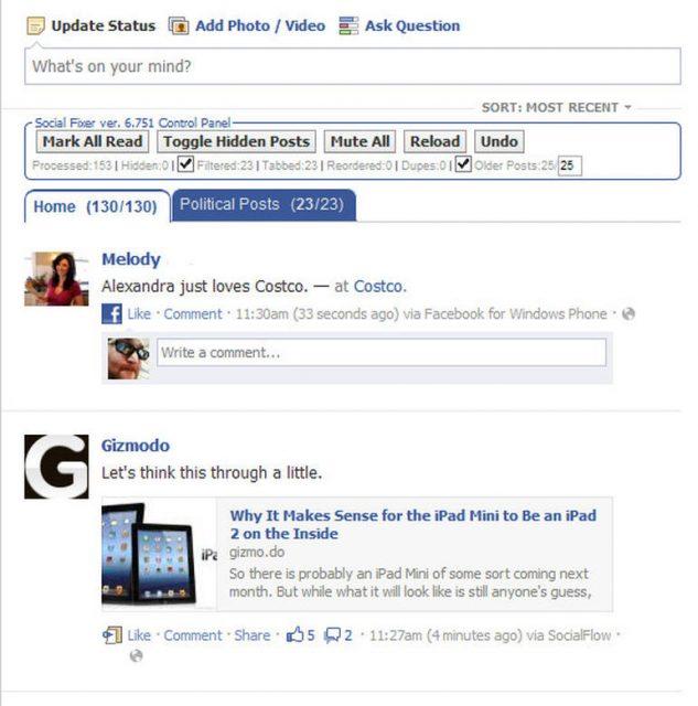 Facebook Filtered