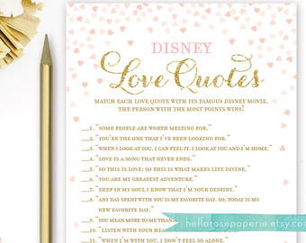 Pink And Gold Bridal Shower Games Disney Love Quotes Bridal Shower Game Printable Instant