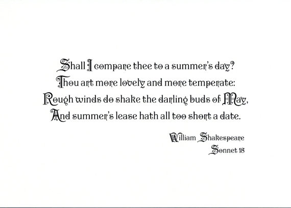 Famous Shakespeare Quote Print Sonnet  Prints For Lovers Choose Typeface
