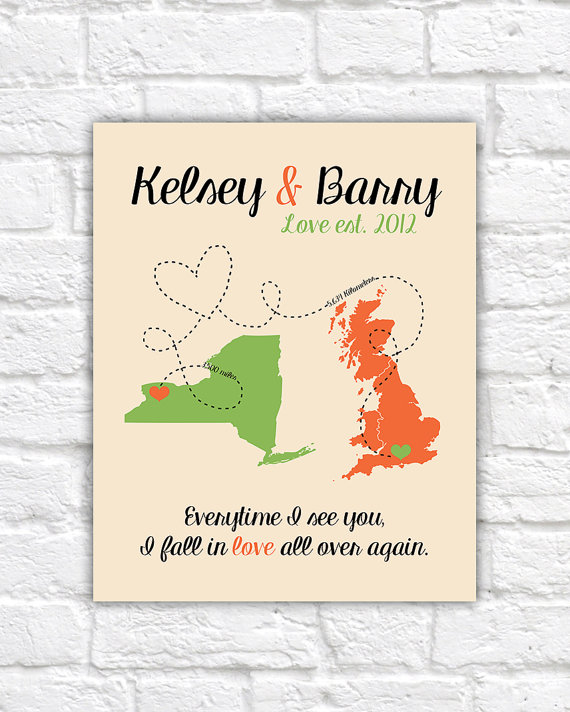 Long Distance Relationship Gift For Boyfriend Husband Fiance Custom Gift Personalized Art Print Deployment Military Love