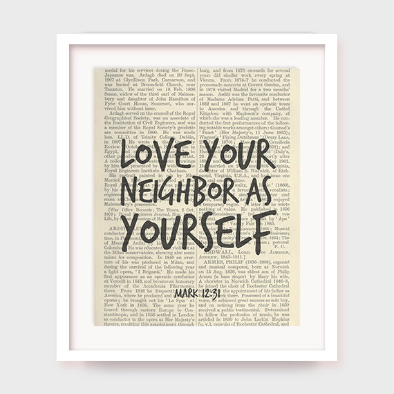 Instant Download Bible Verse Love Your Neighbor As Yourself Mark  Church Art Decor Printable Bible Quote