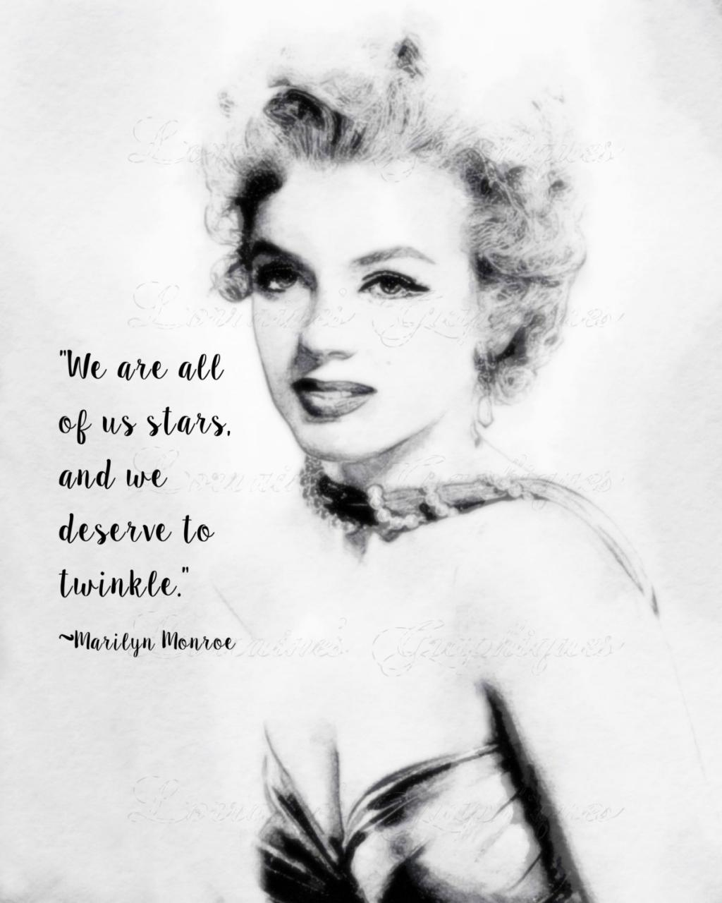 Marilyn Monroe  A Watercolor Fine Art Print With Star Quote Portrait For Marilyn Monroe Lovers Cl Ic Hollywood Home Decor