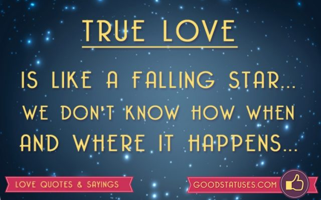 True Love Is Like A Falling Star Love Status Quotes
