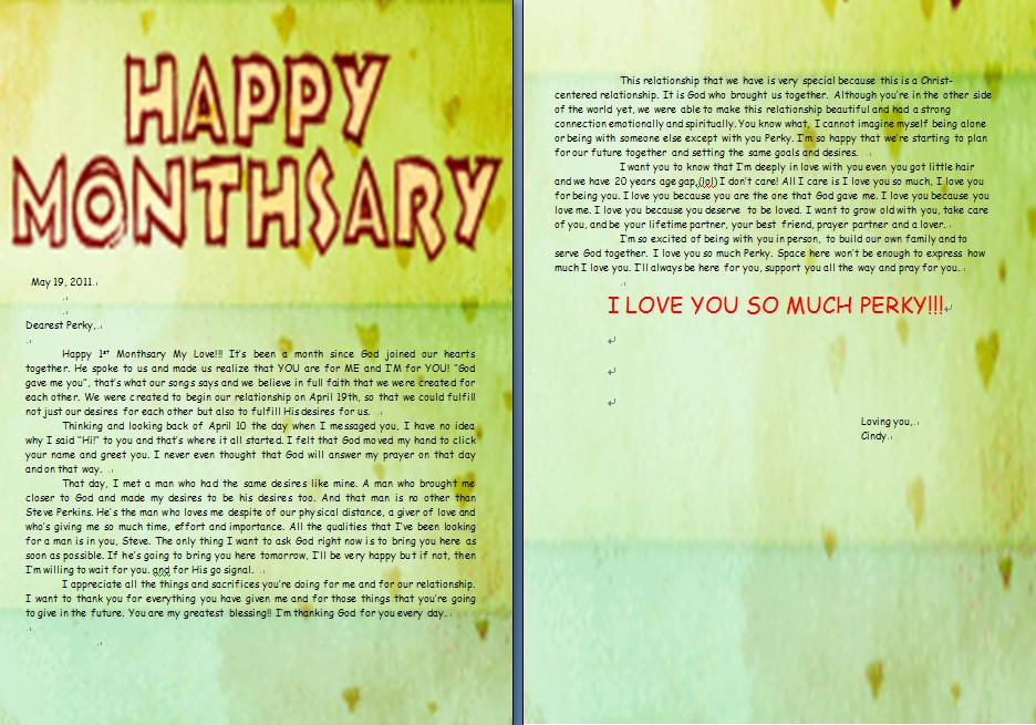 St Monthsary Letter For Perky