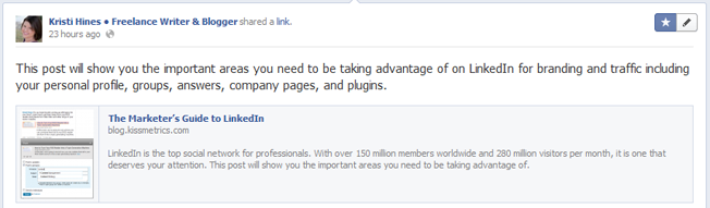 New Facebook Pages Highlighted Post