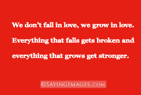 We Dont Fall In Love We Grow In Love Quote About We