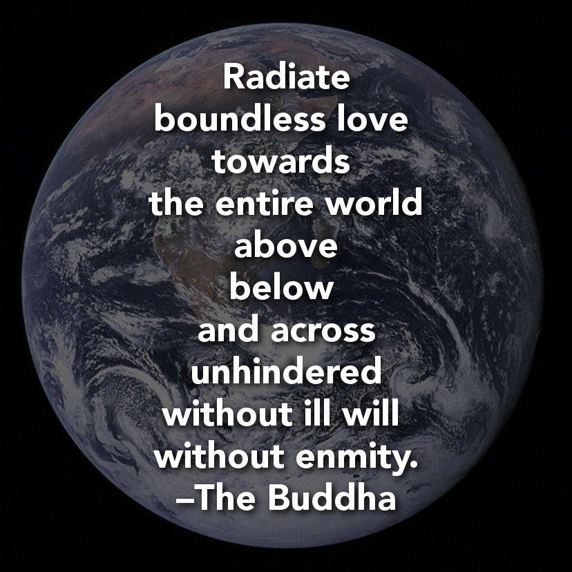 Radiate Boundless Love Towards The Entire World Above Below And Across Unhindered Without Ill Will Without Enmity The Buddha