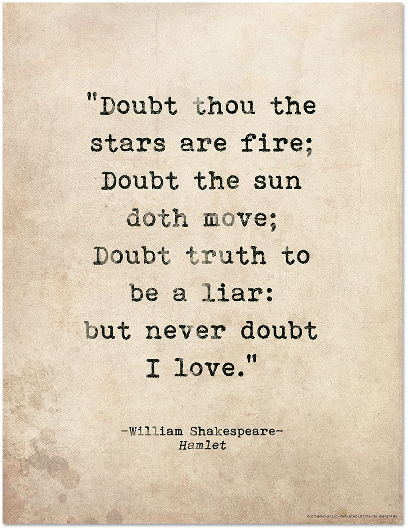 Shakespeare Love Quotes Romantic Quote Poster Doubt Thou The Stars Are Fire Shakespeare