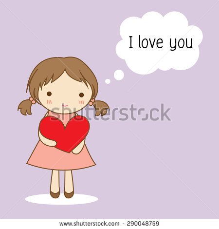 Cute Little Girl Holding A Red Heart With The Word I Love You