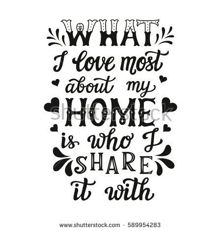 Hand Lettering Typography Poster Igraphic Quote What I Love Most About My Home Is