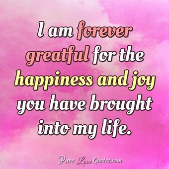 Love Quotes For Her Annivesary I Am Forever Greatful For The Happiness And Joy You Have Brought Into My Life