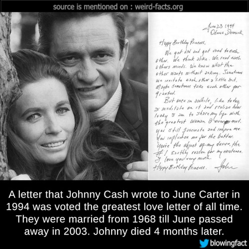 A Letter That Johnny Cash Wrote To June Carter In  Was Voted The Greatest Love Letter Of All Time They Were Married From  Till June P Ed Away In