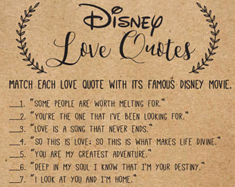 What Is Love Quotes Inspirational Disney Bridal Shower Disney Love Quote Match Printable