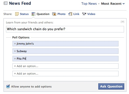 Facebook Poll Click To Enlarge
