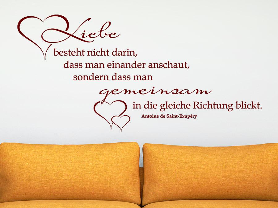 Zitat Wandtattoo Liebe Besteht Nicht Darin Uber Dem Sofa In Rot