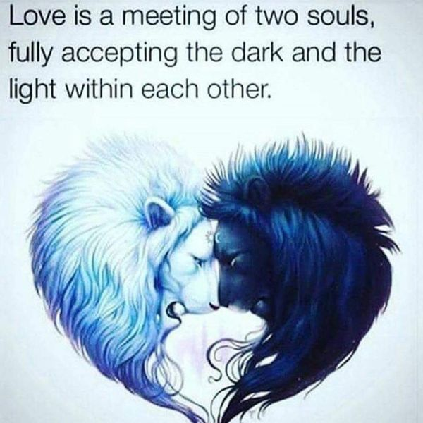 Love Is A Meeting Of Two Souls Fully Accepting The Dark And The Light Within