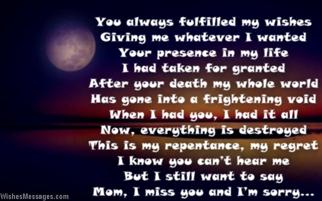 Missing You Poem For Mother After Death And Loss