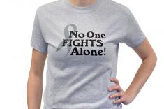 No One Fights Alone Awareness T Shirt In Cancer Grey Small
