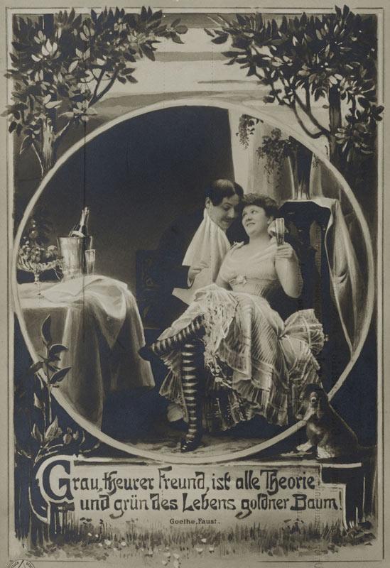 Historische Postkarte Mit Anzuglich Ironischem Motiv Und Faust Zitat