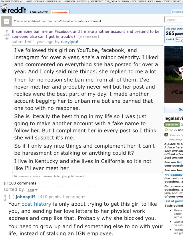 The Reddit Stalker About A Year Ago A User Named Darylprat Made A Post Called If Someone Ban Me On Facebook And I Make Another Account And Pretend To Be