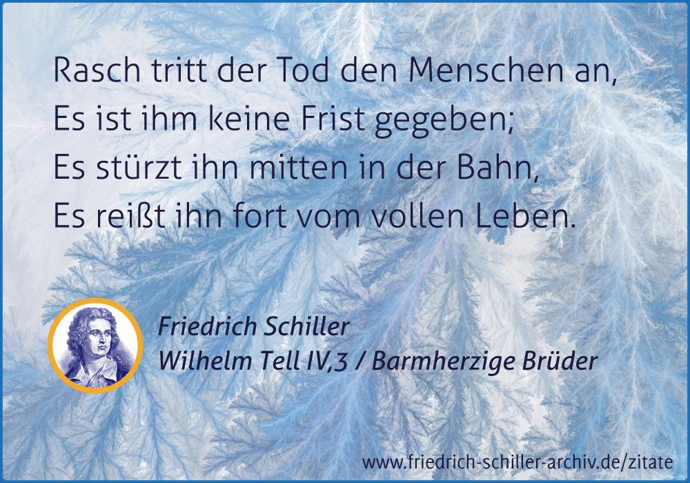 Schiller Zitat Rasch Tritt Der Tod Den Menschen An Es Ist Ihm Keine