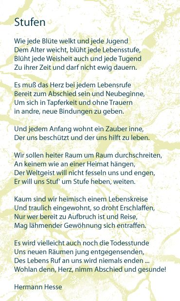 This Will Forever Be My Favourite Poem Stufen By H Hesse