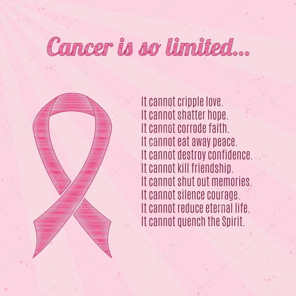 Pinkt Cancer Awareness Ribbon With Inspirational Quotes Stock P O