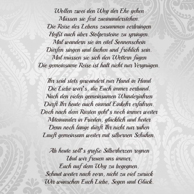 Spruche Silberhochzeit Gluckwunsche Weg Der Ehe Gedicht Emotional