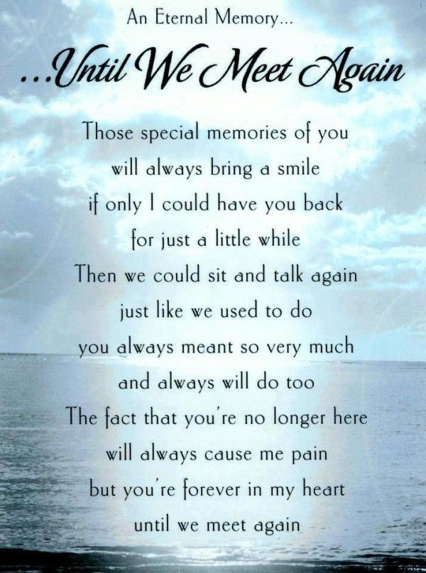 Eternal Memory Loss Of A Loved One Quotes And Poems Until We Meet Again Those Special