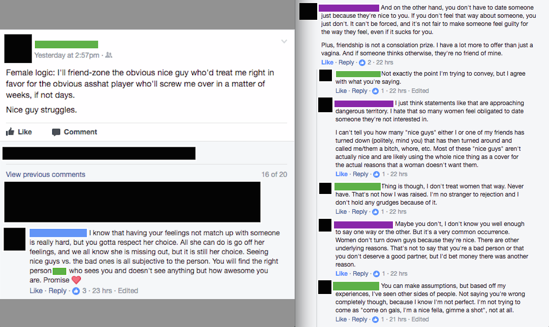 Nice Guy On My Facebook Is Stuck In The Friend Zone A Couple Of The Responses He Got Were Logical At Least