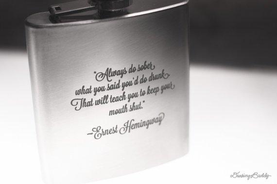 Ernest Hemingway Zitat Laser Gravierte Schnaps Flachmann