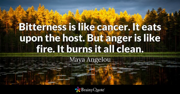 Bitterness Is Like Cancer It Eats Upon The Host But Anger Is Like Fire