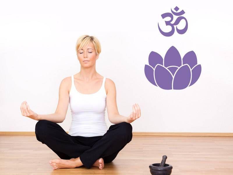 Wandtattoo Om Zeichen Ohm Lotus Blume Blute Yoga Gluck Kraft Harmonie Energie Ebay