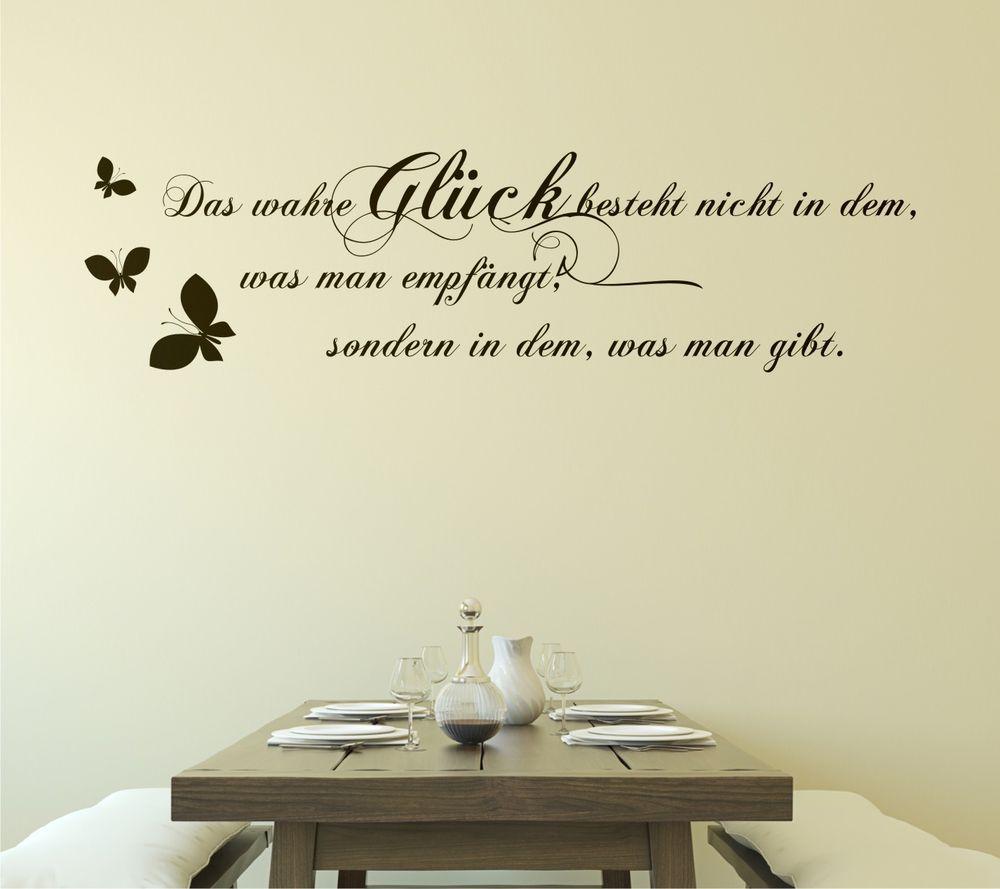 Wandtattoo Spruche Das Wahre Gluck Zitat Cm Schmetterlinge Wohnzimmer Flur I Ebay