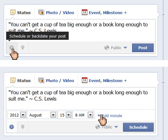 Scheduling Facebook Status Updates
