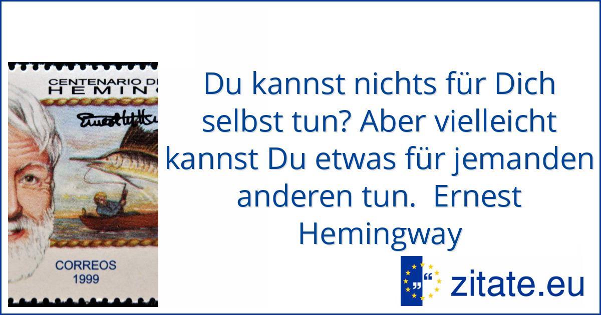 Du Kannst Nichts Fur Dich Selbst Tun Aber Vielleicht Kannst Ernest Hemingway Zitate Eu
