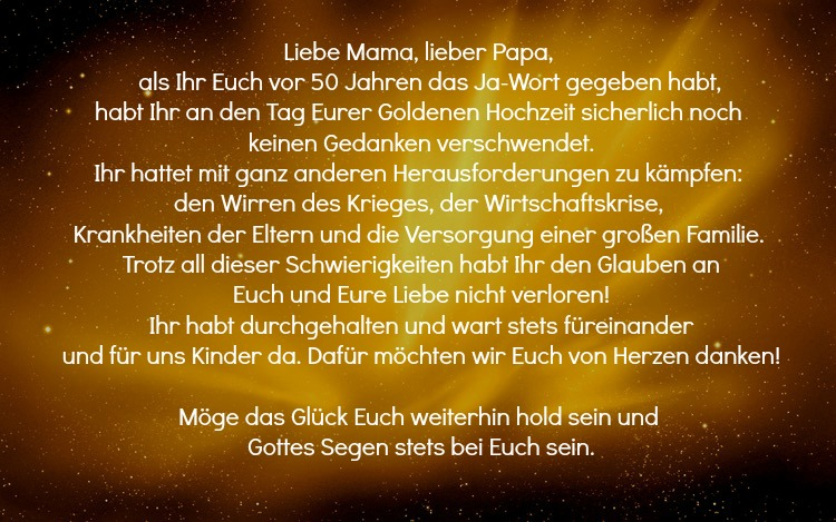 Spruche Zur Goldenen Hochzeit Eltern Mama Papa Gluck Lang Poetisch  Wunsche Und Spruche Zur Goldenen Hochzeit Der Eltern Kostenlos Spruche Und Zitate