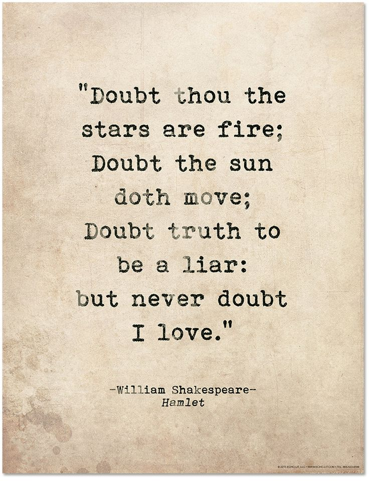 Romantic Quote Poster Doubt Thou The Stars Are Fire Shakespeare Hamlet Literary Print For School Li Ry Office Or Home