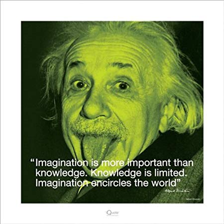 Posters Albert Einstein Poster Art Print I Quote Imagination Is More Important