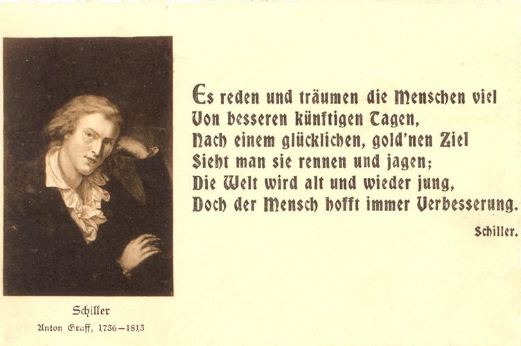 Das Goethezeitportal Schiller Motive Auf Postkarten Schiller Portrats